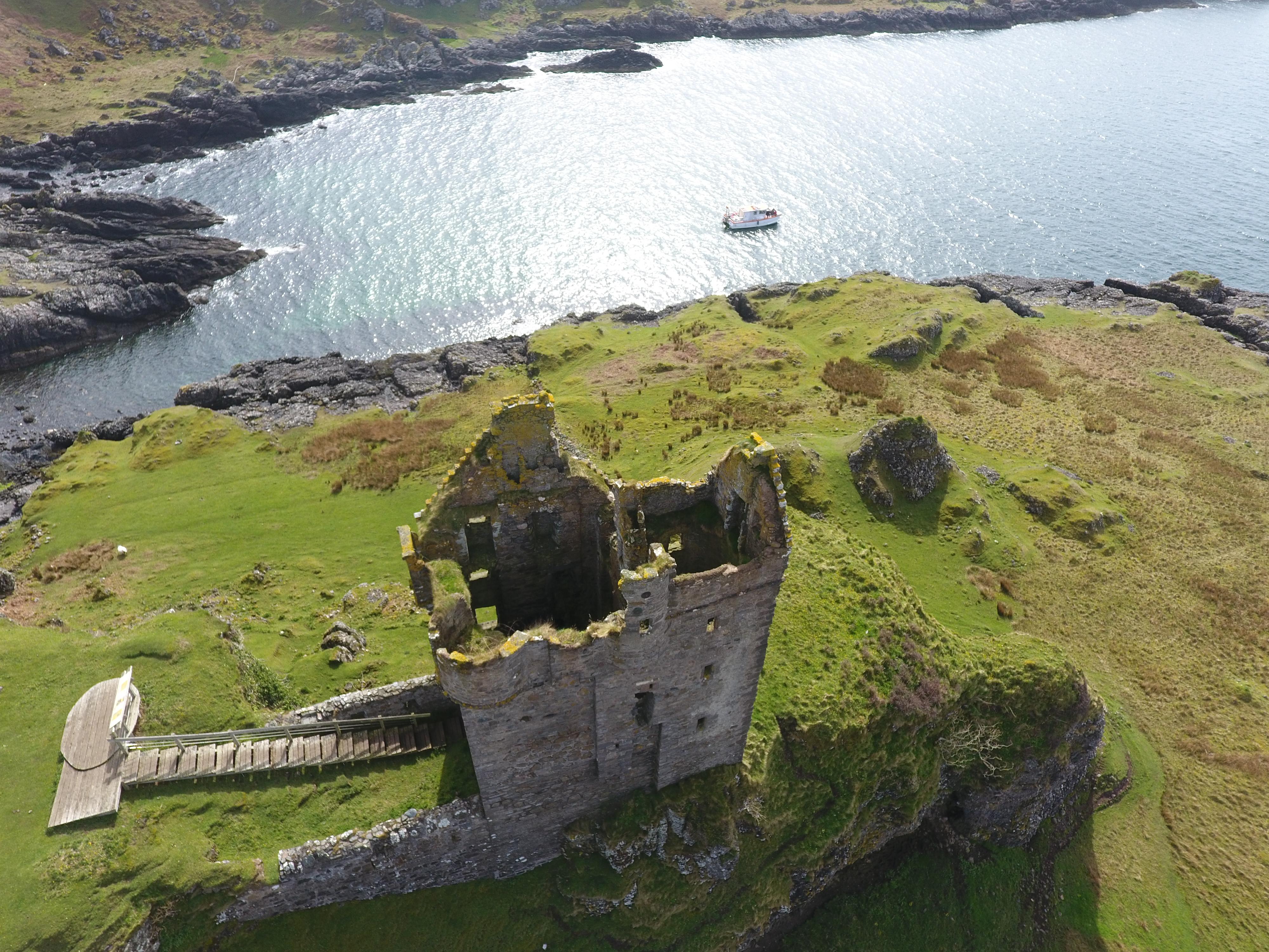 Etive Boat Trips anchored near Gylen Castle, Isle of Kerrera