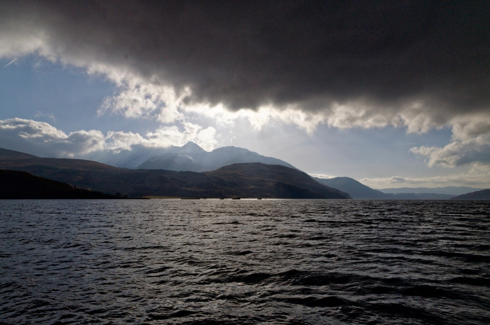 Loch Etive from the Etive Explorer with storm clouds