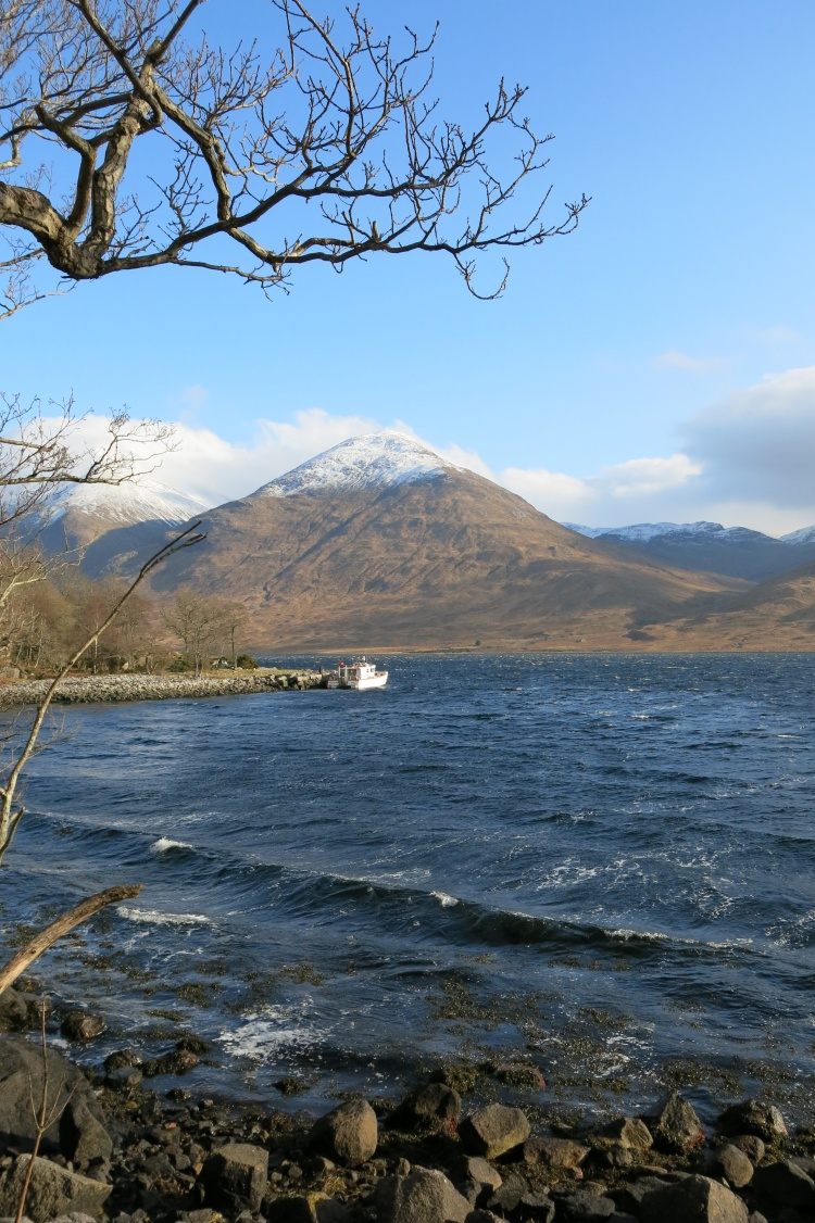 Snow capped Stob an Duine Ruaidh from Loch Etive